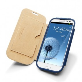 Samsung Galaxy S3 Leather Case Folio (Navy Blue)